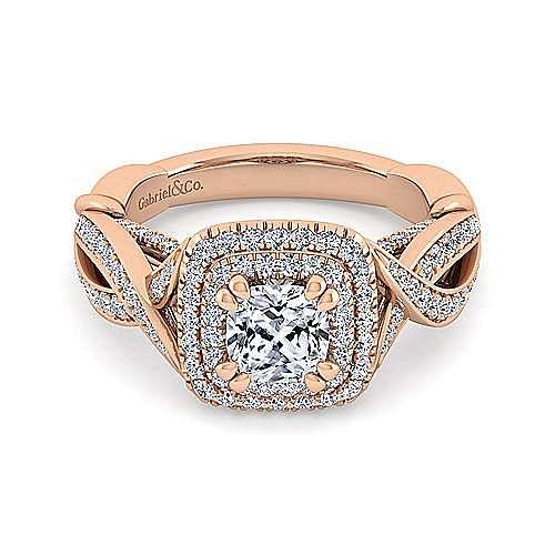 14K Rose Gold Cushion Cut Diamond Engagement Ring