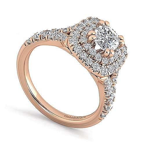 14K Rose Gold Cushion Cut Double Halo Diamond Engagement Ring
