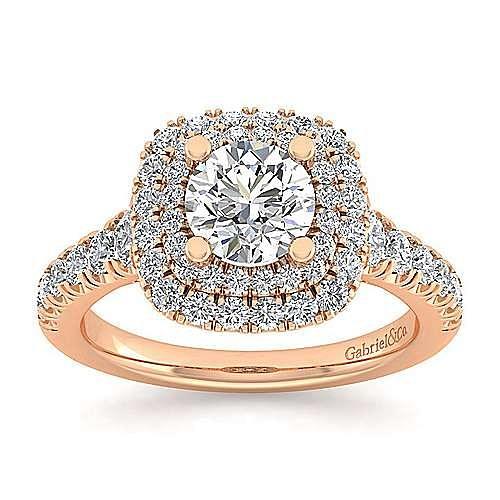 14K Rose Gold Cushion Double Halo Round Diamond Engagement Ring