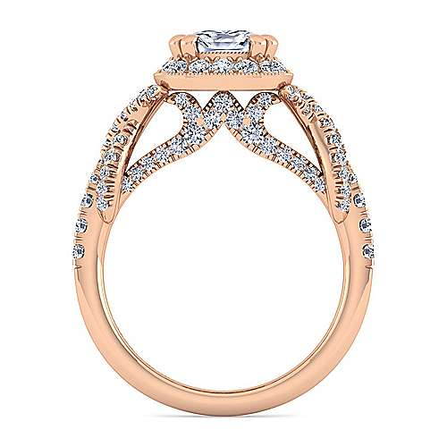 14K Rose Gold Cushion Halo Diamond Engagement Ring