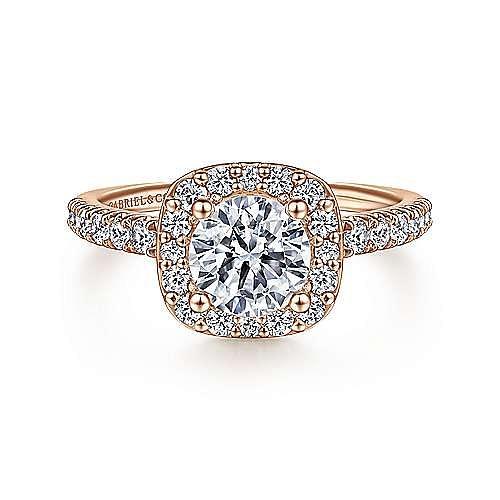 Gabriel - 14K Rose Gold Cushion Halo Round Diamond Engagement Ring