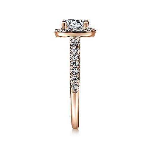 14K Rose Gold Cushion Halo Round Diamond Engagement Ring