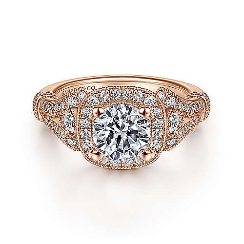 Gabriel - 14K Rose Gold Cushion Halo Round Diamond Engagement Ring