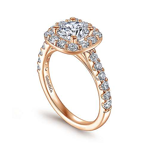 14K Rose Gold Cushion Halo Round Diamond Engagement Ring
