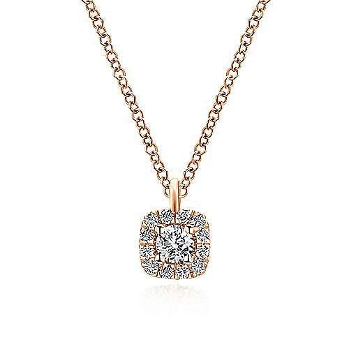 14K Rose Gold Cushion Halo Round Diamond Pendant Necklace