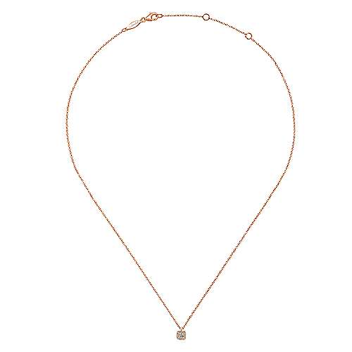 14K Rose Gold Cushion Halo Round Diamond Pendant Necklace