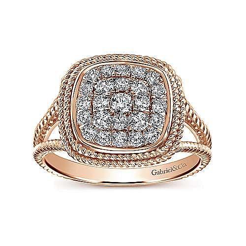 14K Rose Gold Cushion Shape Diamond Pavé Split Shank Ring