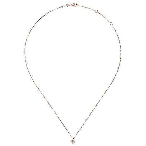 14K Rose Gold Cushion Shaped Diamond Cluster Pendant Necklace
