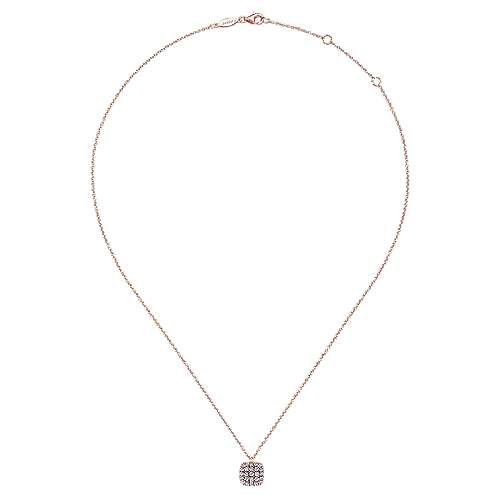 14K Rose Gold Cushion Shaped Diamond Cluster Pendant Necklace