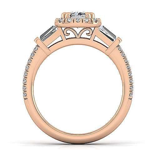 14K Rose Gold Cushion Three Stone Halo Diamond Engagement Ring