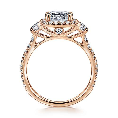 14K Rose Gold Cushion Three Stone Halo Diamond Engagement Ring