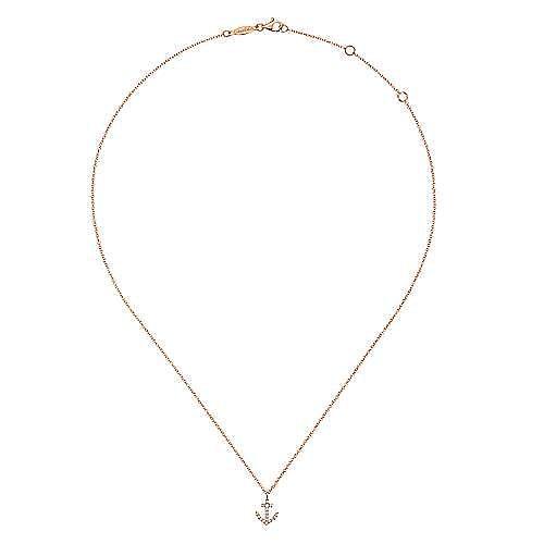 14K Rose Gold Diamond Anchor Pendant Necklace