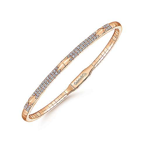 14K Rose Gold Diamond Bangle with Pyramid Rhombus Stations