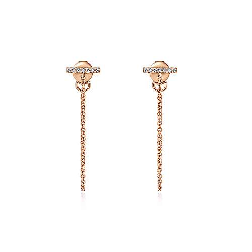 14K Rose Gold Diamond Bar Stud and Chain Linear Earrings