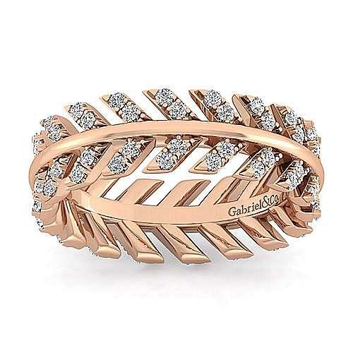 14K Rose Gold Diamond Chevron Eternity Ring