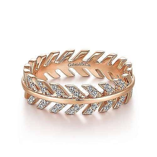 14K Rose Gold Diamond Chevron Ring