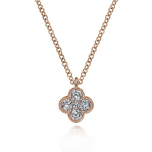 14K Rose Gold Diamond Clover Pendant Necklace