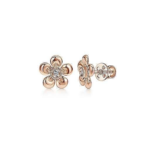 14K Rose Gold Diamond Earrings
