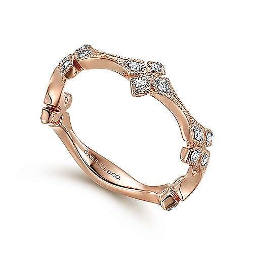 14K Rose Gold Diamond Floral Station Stackable Ring