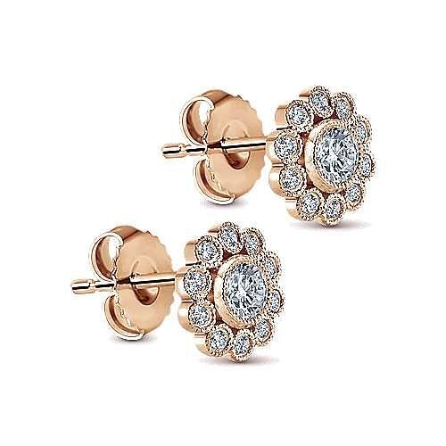 14K Rose Gold Diamond Flower Stud Earrings