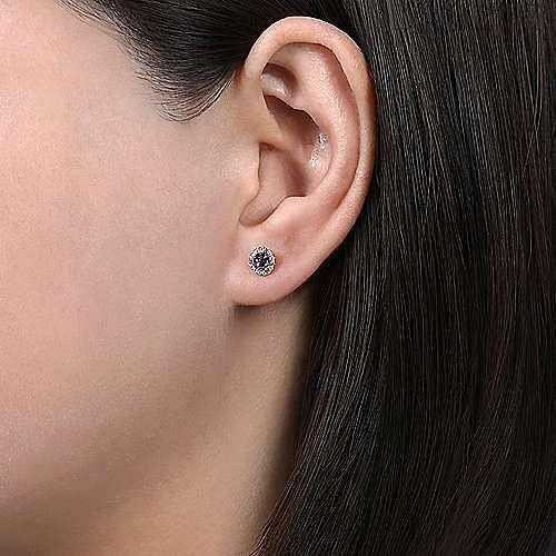 14K Rose Gold Diamond Halo Amethyst Stud Halo Stud Earrings