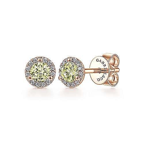 14K Rose Gold Diamond Halo Lemon Quartz Stud Earrings