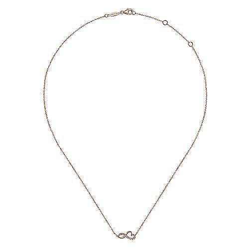 14K Rose Gold Diamond Infinity Heart Pendant Necklace