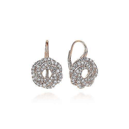 14K Rose Gold Diamond Knot Drop Earrings