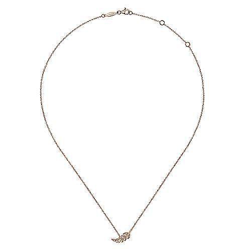 14K Rose Gold Diamond Leaf Pendant Necklace
