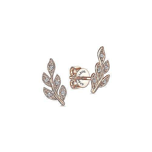 14K Rose Gold Diamond Leaf Stud Earrings