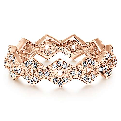 14K Rose Gold Diamond Link Eternity Ring