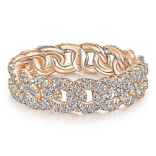 14K Rose Gold Diamond Link Eternity Ring