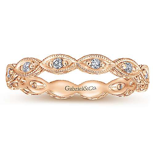 14K Rose Gold Diamond Marquise Station Eternity Ring
