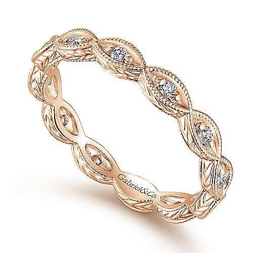 14K Rose Gold Diamond Marquise Station Eternity Ring