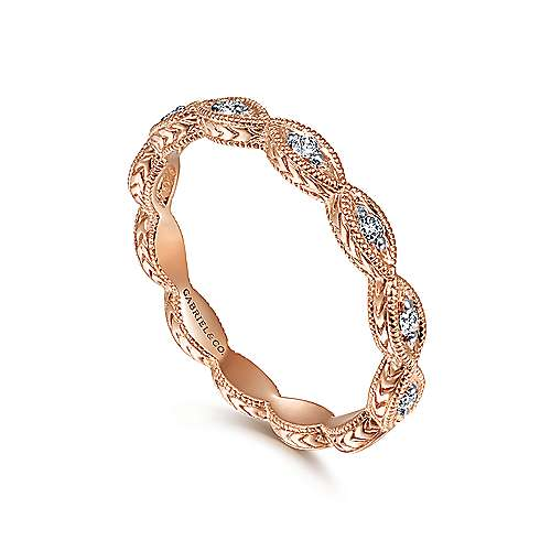 14K Rose Gold Diamond Marquise Station Ring