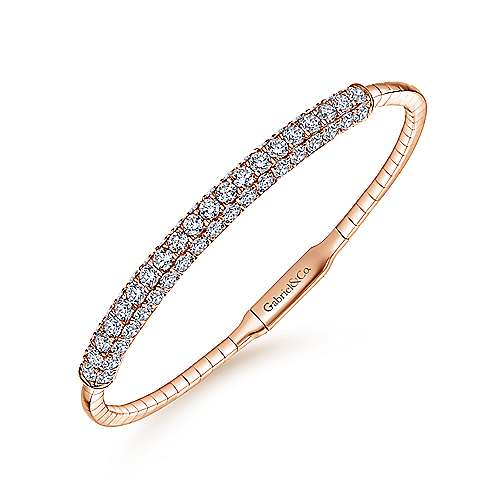 14K Rose Gold Diamond Pavé Bangle