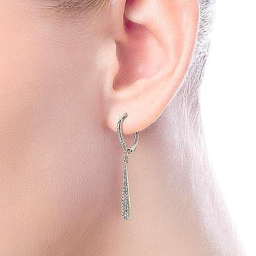 14K Rose Gold Diamond Pavé Dangly Drop Earrings