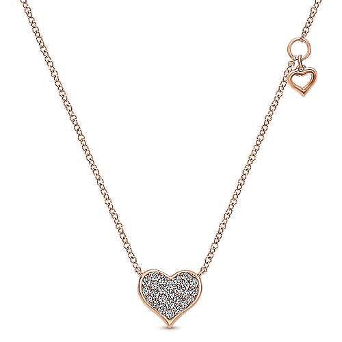 14K Rose Gold Diamond Pavé Heart Pendant Necklace