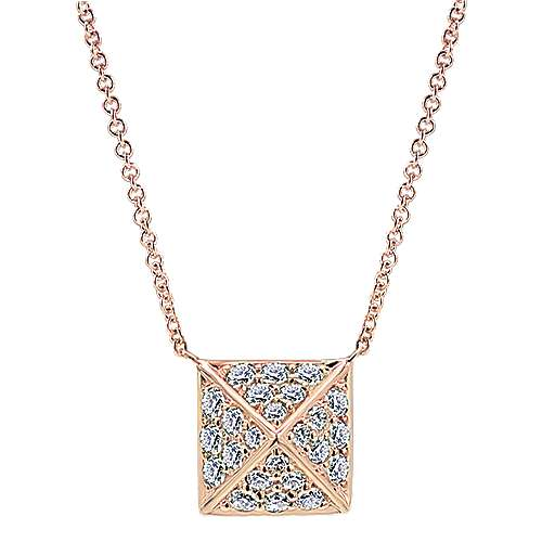14K Rose Gold Diamond Pavé Pyramid Pendant Necklace