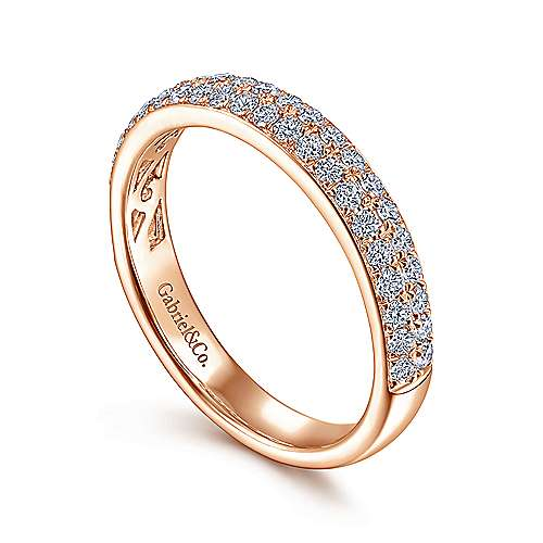 14K Rose Gold Diamond Pavé Ring Band