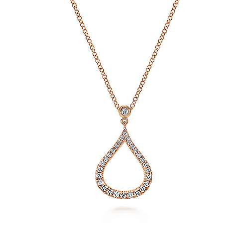 14K Rose Gold Diamond Pavé Teardrop Pendant Necklace