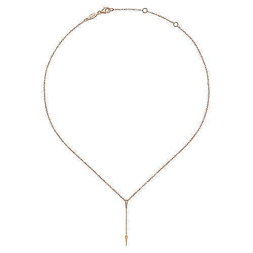 14K Rose Gold Diamond Pavé Y Necklace with Kite Drop