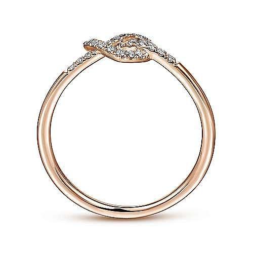 14K Rose Gold Diamond Pretzel Love Knot Heart Ring