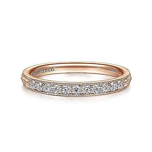14K Rose Gold Diamond Ring Band