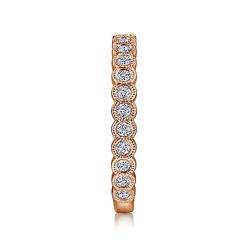 14K Rose Gold Diamond Ring with Millgrain Bezel
