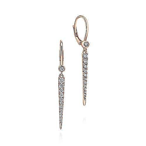 14K Rose Gold Diamond Spike Drop Earrings