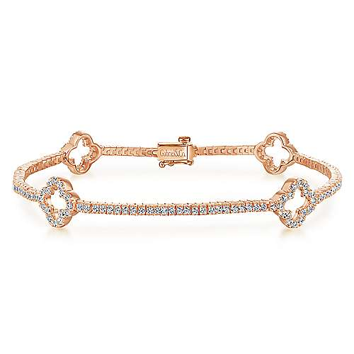 14K Rose Gold Diamond Tennis Bracelet with Clover Stations