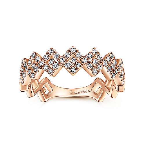 14K Rose Gold Diamond Zig Zag Stackable Ring