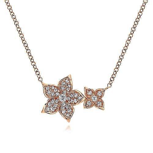 14K Rose Gold Double Flower Diamond Necklace