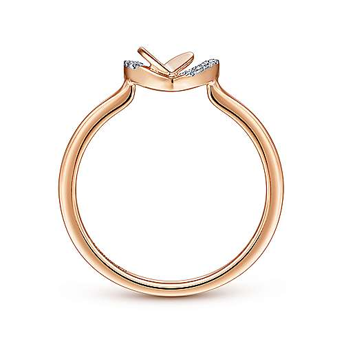 14K Rose Gold Double Heart Diamond Ring